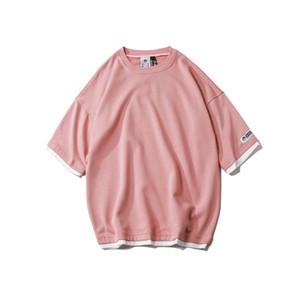 Mens Designer T Camisas Harajuku Pure Cotton Verão Gota Ombro Manga Curta Hip Hop Tops camiseta roupas
