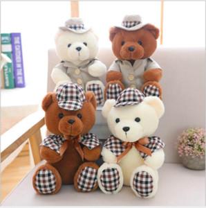 1 pc Sentado 30 cm Adorável Vestindo Roupas Ursos De Pelúcia Brinquedos Bonitos Ursos De Pelúcia Macia Boneca para Crianças Bebê Brinquedos Huggable Presente de Aniversário Das Meninas