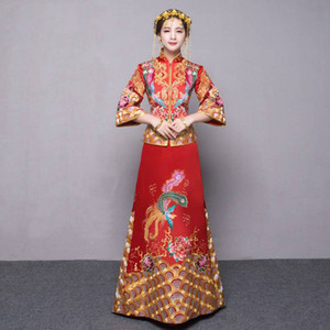 Robe de style chinois mariage royal brodé costume cheongsam costume rouge mariée vintage porter costume traditionnel chinois Tang costume Qipao ethnique