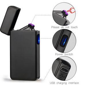 Новый двойной дуги электрический USB зажигалка аккумуляторная плазма ветрозащитный импульсный беспламенного прикуривателя красочные заряд USB зажигалки