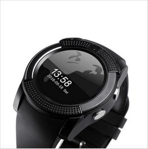 Smart Watch V8 Round Dial Bluetooth Smartwatch Phones Support SIM with Camera Sport Wrist Watches for Android iOS Wearable Wristwatch DHL