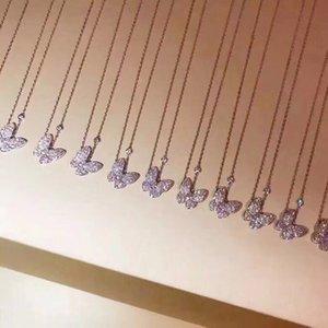 Lujo famosa cadena de plata de ley S925 completa de mariposa de cristal colgante del encanto del collar corto para las mujeres joyería