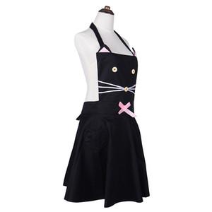 المطبخ المنظم القط الكرتون ساحة المطبخ القطن المئزر للمرأة مقهى العمل المئزر لطيف فتاة عرض أزياء أسود Avental Delantal