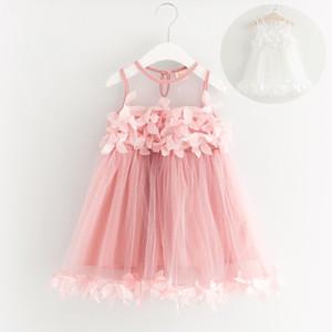 Vestidos de verano para bebés niñas coreanas Vestido pétalo Gasa Sin mangas Vestido de encaje Princesa Vestido de moda 2018 Niños Niñas Vestimentas