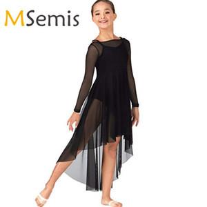 Kids Girls Praise Dance Dresses Mesh Long Sleeve High-low Hem Dress pour la célébration de l'esprit Louange Lyrical Dance moderne