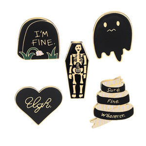 Smalto Pin Badge gotico sto bene Tombstone Coffin Skull Spille Pins Halloween nero e argento spilla