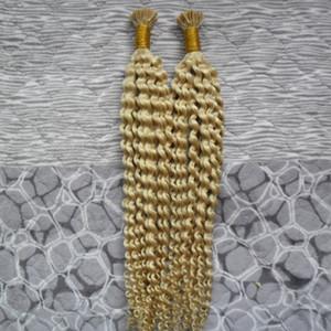 블리치 블론드 200g 1g / strand 더블 드로우 휴먼 레미 실키 킨키 컬리 I-tip Pre-bonded 브라질 인간 헤어 마이크로 퓨젼 헤어 익스텐션