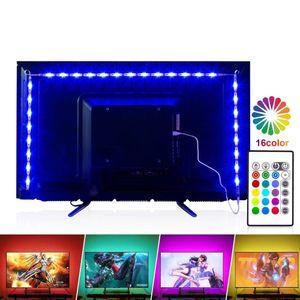 LED TV Arka Işık 2 m / 6.56ft RGB Neon Accent LED Işıkları Şeritler için 40-60in HDTV Neon Işık Önyargı Aydınlatma Uzaktan USB LED Şerit Işıkları Ile