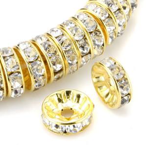 يوس 100pcs التي A +++ 100pcs التي جولة Rondelle فاصل الخرزة لهجة الذهب الأبيض واضح التشيكية كريستال سحر الخرز لديي صنع المجوهرات