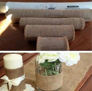 Hessian Burlap Ribbon Table Runner 10M Roll Rústico Natural Boda dinning cubierta de la silla decoración de mesa de arpillera corredor de banquete en casa