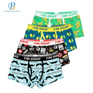 Pink Heroes 4pcs/lot Men Underwear Boxer Mens Underwear Coon Roller Printing Colorsafe Boxers Cartoon Fashion Boxer Shorts