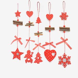 20pcs 2018 decorazioni di Natale in legno lungo amore neve albero di Natale Stella Patten Rifornimenti festa festiva