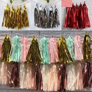 5 unids / set papel de seda de las lentejuelas borla de la guirnalda decoración de la fiesta de cumpleaños de la boda 35 cm de papel rosa dorado borlas de Mariage del partido suministros WX9-645