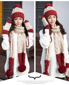 Оптовая шляпа шарф перчатки из трех частей женского зимнего студента хан версия прекрасной осень / зима очень толстая шерсть шляпа Рождественский подарок