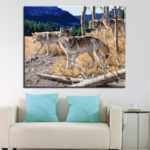 Wolf Animals Diy Painting By Numbers Acrylic Paint On Canvas Modern Home Wall Art Picture Calligraphy Painting