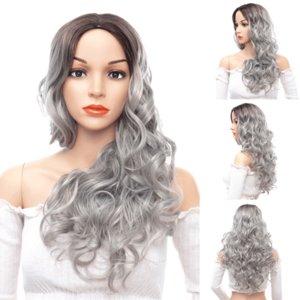 Mujeres Ombre largo peluca sintética del cuerpo de la onda del pelo Barato Side Bang pelucas químico tocado teñido parcial fibra peluca