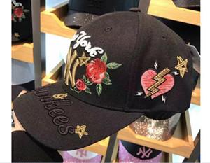 Корейская версия вышивка Роза изогнутый череп бейсболка мода письма cap пара хип-хоп шляпа солнца