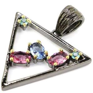 سحر التورمالين الوردي ، البنفسجي التنزانيت ، التوباز الأزرق الذهب الأسود 925 الفضة قلادة مثلث 34x23mm