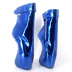"Women 7"" 18CM Extreme High Heels Pony Hidden Wedge Ballet Ankle Boots Liquid Blue Sexy Man Fetish Padlocks Exotic Pole Dance Boots customize"