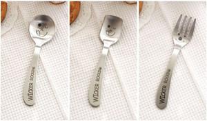 Cuchara tenedor estilo Zakka creativo - Cara sonriente Vajilla de acero inoxidable para dibujos animados para niños Lindo - Accesorios de cocina
