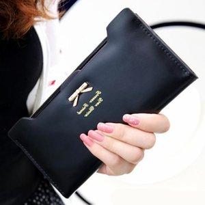 женщины искусственной кожи бумажник лук женщины кошельки и кошельки женский длинные старинные высокое качество кожа кредитной карты Леди