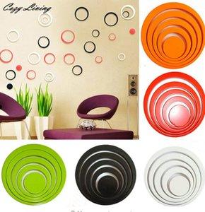 Stickers muraux 5 couleurs 5pcs à l'intérieur des cercles de décoration créatif stéréo amovible 3D bricolage sticker mural géométrique papier peint # F # 40D8