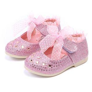 Fashion Children Shoes Kid Baby Girls Shoes Princess Flats Single Child Lace Diamonds Leather Dancing Baby Boys Kids