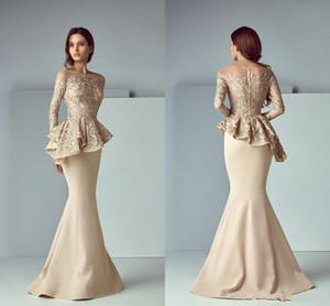 2020 Champagne Dubai árabe sereia Vestidos de baile desgaste do pescoço da colher Lace Mancha Peplum mangas compridas até o chão festa vestidos de noite formais