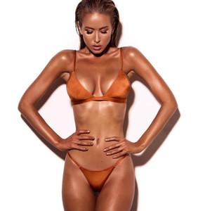 Traje de baño de traje de baño sexy para mujer de Triángulo de playa Conjunto de bikini vintage para mujeres Bikini de color puro de Europa y América