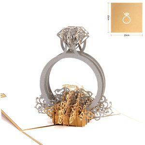 Anillo de oro Corte por láser 3d Pop Up Invitaciones de boda Pliegue romántico Día de San Valentín hecho a mano para el amante Tarjeta postal de regalo de felicitación