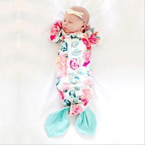 حديثي الولادة طفل كيس النوم حورية البحر الذيل يمكن ارتداؤها بطانية طويلة الأكمام ثوب النوم للرضع لطيف كيس النوم