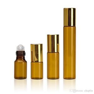 Amber 3ml 5ml 10ml rouleau sur bouteille en acier inoxydable bouteille en acier inoxydable bouteille d'huile essentielle de parfum liquide