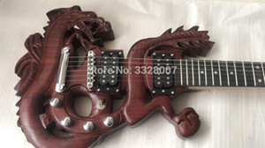 Custom shop Speciale chitarre elettriche cinesi con corpo a forma di loong, design scavato, corpo in 3D drago cinese intagliato;