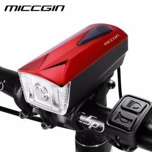 MICCGIN 2018 NUEVA Bicicleta Bell Carga USB Bicicleta Cuerno Luz Faro Altavoz Cable Control Ciclismo Luz delantera 120DB Campana