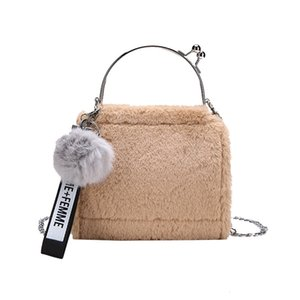 Meloke 2018 New designer  Fashion clutch Bag Women Plush bag wtih fur ball Metal shoulder crossbody bags for girls M1218