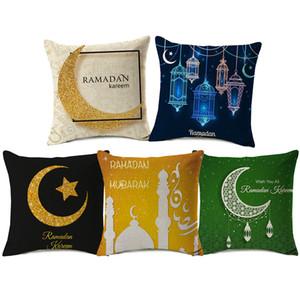 12 Stili Ramadan Kareem Eid Mubarak Covers Covers Medio Oriente Moon Star Lantern Mosque Cuscino Divano decorativo Lino Federa