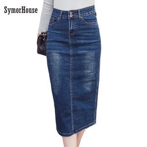 2018 Denim Skirt Vintage Button High Waist Pencil Black Blue Slim Women Skirts Plus Size S-2XL Ladies Office Sexy Jeans Faldas