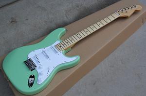 Chitarra elettrica Custom Factory Green Body con pickup SSS, pickguard bianco, hardware Chrome, tastiera in acero, offerta personalizzata