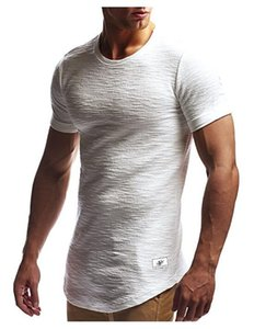 Hombres Tshirts Summer Hem Curved Long Tees Colores Sólidos Mangas Cortas Atlético Casual Tops