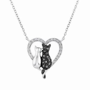 Schwarz-Weiß-Katze Strass Halskette Valentinstag Geschenk Liebe Ornamente paar Halskette Frauen Mädchen Schmuck Zubehör KKA3938