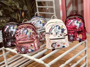 Çocuklar Kızlar Sırt Çantaları 2018 Yeni Kore Renkli Unicorn Sequins Genç Kız Çocuklar Için Panelli Omuz Çantaları Glitter Öğrenci Okul Çantaları