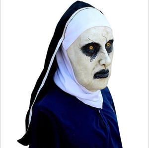 MostaShow Nun Maske Horror Weibliche Geist Realistische Latex Kopf Party Kleid Volle Kopfbedeckung Ostern Halloween Cosplay Masquerade Masken