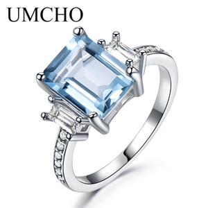 UMCHO 925 Ayar Gümüş Akuamarin Yüzükler Kadınlar Için Gökyüzü Mavi Topaz Promise Prenses Kesim Taş Yüzük Güzel Takı Yeni Y18102610