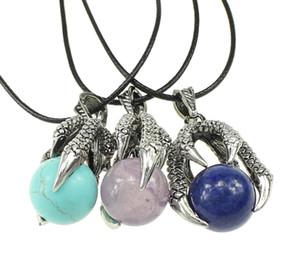 YYW Punk Silver-color Dragon Garra Natural Real Rose Stone Sea Opal Purple Cuarzo Stone Leather Cord Gargantilla Collares pendientes