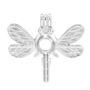 El colgante de jaula de perlas, el difusor de aceite esencial y la libélula proporcionan 10 piezas de acero inoxidable, más su propia perla lo hace más atractivo