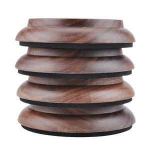 Real Walnut Wood High Quality 4pcs set Solid Wood Upright Piano Caster Cups EVA Anti-slip Mat