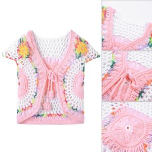 Summer Handmade Baby Girls Crochet Knitted Cardigan Waistcoat Toddler Children Knitwear Waistcoat Vest