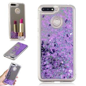 Capa para o caso honor 7a huawei quicksand flash glitter em pó espelho casos de telefone duro capas para huawei y6 2018