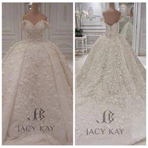 2019 Encolure dentelle robe de bal robe de mariée Big Puffy robe de mariée sur mesure Taille Plus Tulle Jardin Sexy Vestidos De Mariage formel