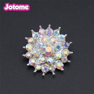 50pcs lot Free for shipping 26mm clothing accessories clear rhinestone flower buckle